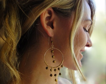 Bohemian Earrings - Gold Pearl Chandelier Earrings