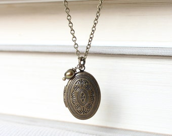 Small Antique Brass Locket - Delicate Victorian Motif