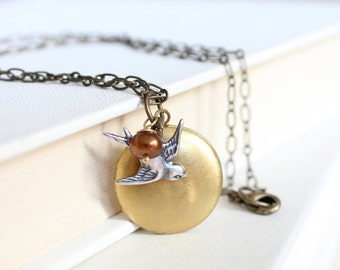 Small Round Vintage Locket Necklace with a Sparrow Charm