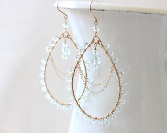 Crystal Chandelier Earrings - Blue Quartz Teardrop - Wedding, Bridal, Special Occasion