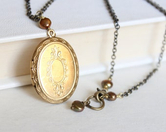 Antique Locket Necklace - Oval Gold Locket with a Victorian Stamped Motif