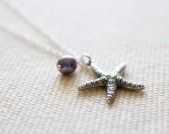 Silver Star Fish Pendant Necklace - Charm Necklace with Sea Star and Freshwater Pearl, Sterling Silver Chain