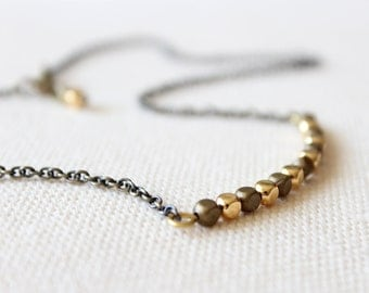 SALE - Delicate Layering Necklace with Gold and Brass Beads