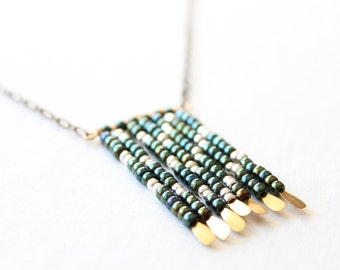 Southwestern Necklace - Iridescent Green Fringe in a Chevron Pattern