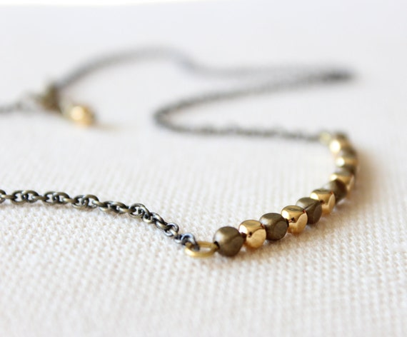 Delicate Layering Necklace with Gold and Brass Beads