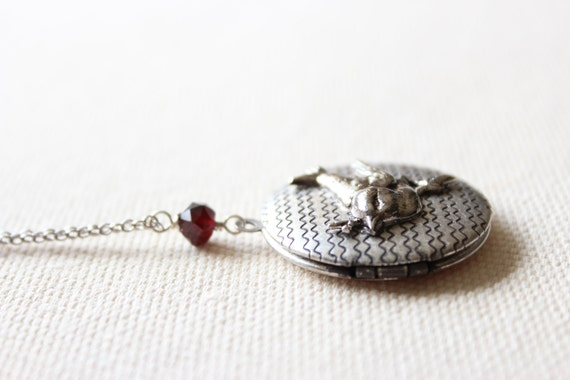 SALE! Long Silver Locket Necklace with a Sweet Bird on a Branch and Garnet Gemstone - Long Sterling Silver Chain