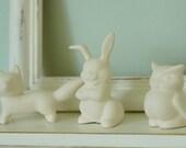 SALE Woodland  Terrarium Animals - Little Unglazed Porcelain White Fox, Squirrel, Deer, Rabbit, Owl, Raccoon