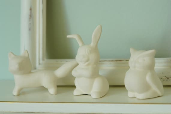 SALE Woodland  Terrarium Animals - Little Unglazed Porcelain White Fox, Squirrel, Deer, Rabbit, Owl, Raccoon