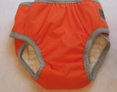 Cloth Trainers -  Training Pants -size 3 waterproof prefold trainers, Orange with Grey  trim - SECONDS