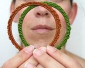 Green and Brown Earth friendship Bracelets in crochet