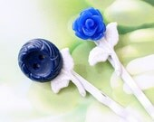 Navy Blue button and Blue flower on white Bobby hair pins