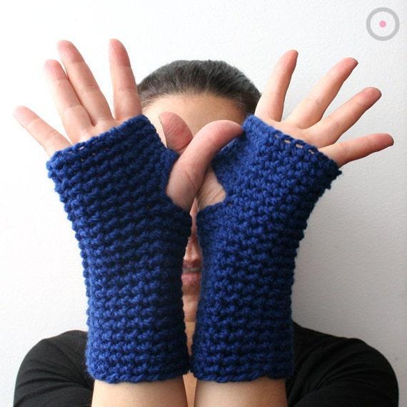 50% Cobalt Blue crochet wrist warmer fingerless gloves - driving mittens - arm warmers
