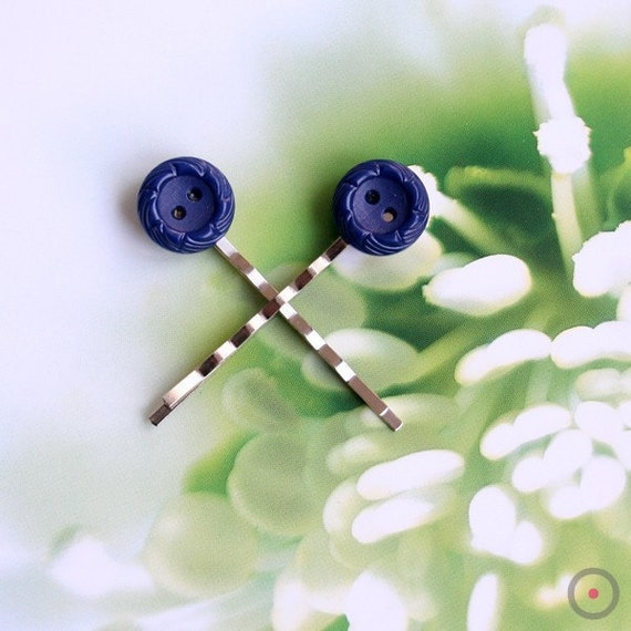50% SALE // Navy Blue button flower Hair bobby pin pair