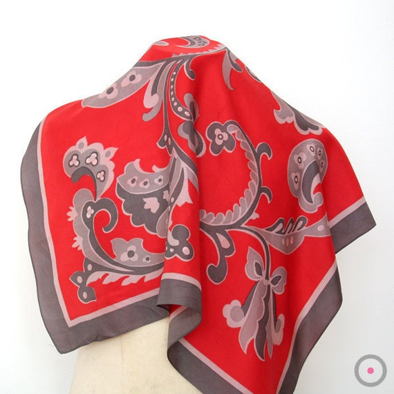 50% SALE Red, Charcoal & Grey Paisley SILK Vintage Scarf