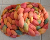 """Wool Roving Hand Dyed Polwarth / Silk """"Coral"""" Combed top"""