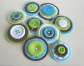 DYLAN Button Baubles - Set of 9 Dark Brown, Aqua, White and Lime Felt and Button Embellishments