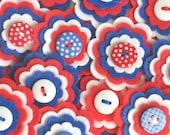 CELEBRATION Felt Flower Embellishments, FOURTH Of JULY Flowers, Felt Appliques in Red, White and Royal Blue, Set of 3