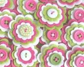 SUMMER GIRL - Set of 3 x Handmade Felt Flower Embellishments in White, Lime and Hot Pink