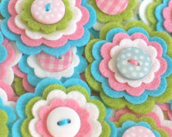 EMILY x 3 Felt Flower Embellishments, Felt Flower Applique, Handmade Felt Flowers, Felt Blooms, Kids Craft Flowers, Sewing Appliques