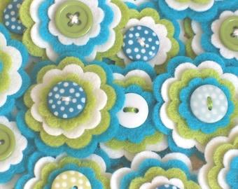 SEA BREEZE x 3 Handmade Felt Flower Embellishments, Scrapbook Embellishments, Flower Appliques for Hair Clips, Sewing Applique, Kids Crafts