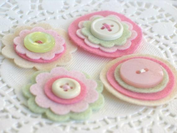 ROSE PETAL Felt and Button Embellishments - Set of 4 Cream, Pink and Soft Green Layered Felt Embellishments