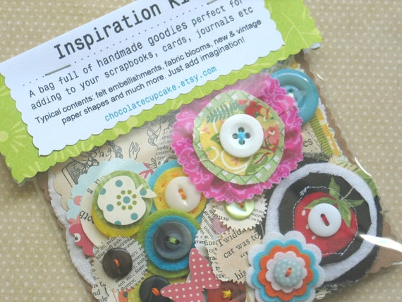 Inspiration Kit (Mixed Style)- Handmade Embellishments For Scrapbooking / Journals
