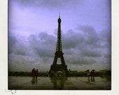 La Tour Eiffel, Eiffel tower Paris, Fine art photograph, polaroid, dark sky, rain, purple, travel memory