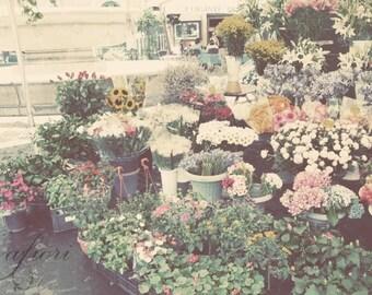 Campo de' Fiori, Fine art photograph, flower market in Rome, Roman square, Italy, afiori