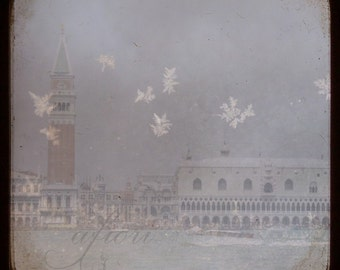 Snow in Venice, Fine art photograph, Mysterious, dreamy, snowflakes, Italy, palace, canal
