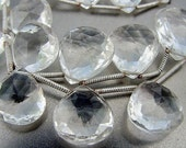 Beautiful Clear Gem Rock Crystal Faceted Heart Briolete Drop Bead 1 Bead 11.2X10.2mm  size