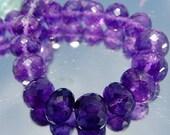 Destash...Natural Large Gem Purple Amethyst LARGE Micro Faceted Rondelle Beads 8.6-9.2mm 47ct 12 beads demi strand