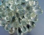 Gem Prasiolite Green Amethyst Large 11.5-12.5mm Full Drop Faceted Briolette Beads 4 beads set