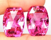 HUGE Top Grade AAA Hot Pink Topaz Fancy Faceted Oval Cushion Briolete Drop Beads Focal Pendant Solitaire Matching Pair