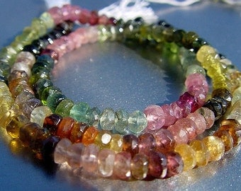 """Green Pink Multi Watermelon Tourmaline Faceted Rondelle Beads  full strand 14"""" 46ct"""