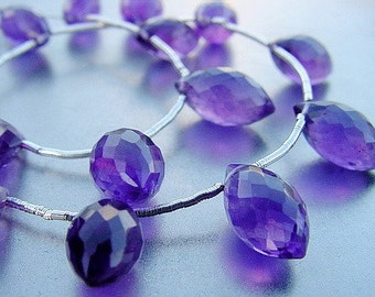 Juicy Purple Gem Amethyst Faceted Puff Marquise Pointer Briolette Drop Beads 8 inch strand 73ct