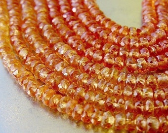 SPARKLE Golden Orange Songea Sapphire Faceted Rondelle Beads 2.8-3mm 40 beads set