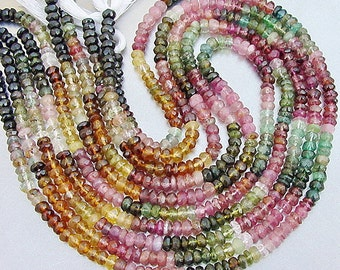 """Green Pink Blue Gem Watermelon Tourmaline 4.1-4.2mm faceted Rondelle Beads Full 14 1/2"""" or 7 1/4"""" strand"""