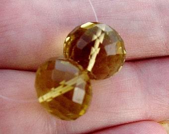 Clear Sparkle Gem Lemon Quartz Large 11.6mm Faceted Rounded Rondelle Beads 18.35ct Matching Pair