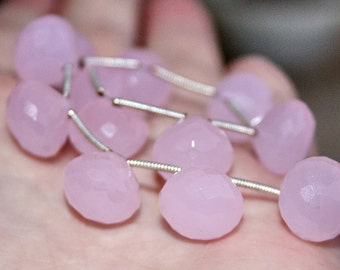 Powder Pink Chalcedony Faceted Large 12mm Onion Briolette Drop Beads Matching Pair