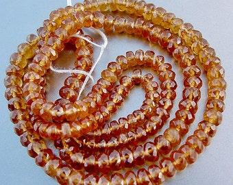 Best Hessonite Garnet Faceted Rondelle Beads 20 inch strand 120ct