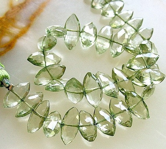 Large Gem Prasiolite Green Amethyst Fancy Faceted Long Marquise Briolette Center Drilled Drops Beads 18 beads 5 inch strand