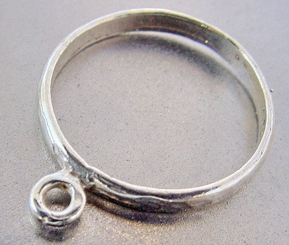 925 Sterling Silver Hammered Band with loop ChaCha Ring Base Blank size 7 for Charms