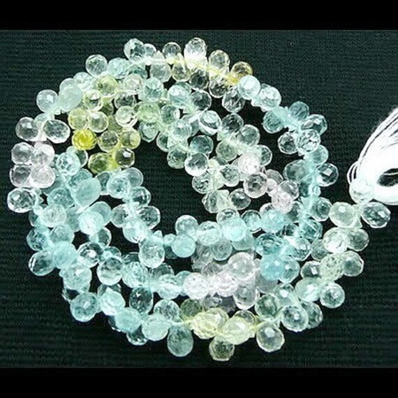 Last set...Multi Hue Pastel Aquamarine Beryl/blue..clear..yellow../ Tiny Faceted Briolette Drop Beads 30 beads set
