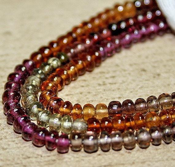 20% Holiday Sale Sparkle Multi Color Plum Sage Gem Tunduru Sapphire Smooth Rondelle Beads 6.5 inch strand