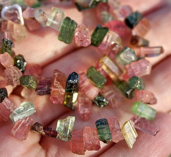 FUN...Gem Pink Green Tourmaline Naturally Faceted Free Form Stick Point Briolettes 10 beads set