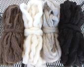 Icelandic Roving 4 Color Sampler Pack - 3 ozs. ea. White, Gray, Brown, Black