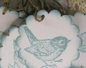 Blue Vintage Style  Scalloped Bird Hang Tags - Set of Twelve