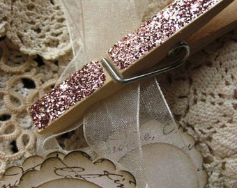 Vintage Inspired Rose Gold Glitter Clothes Pins-Wedding Favor