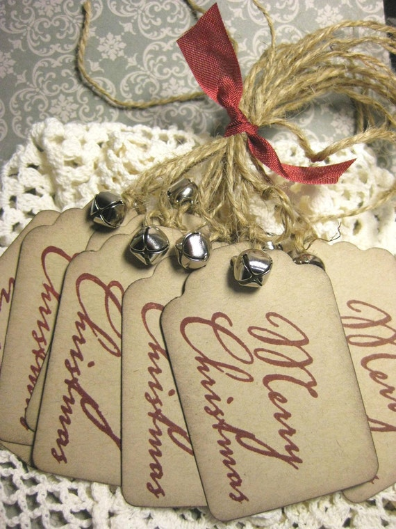 Vintage Style Merry Christmas Gift Tags with Silver Bells