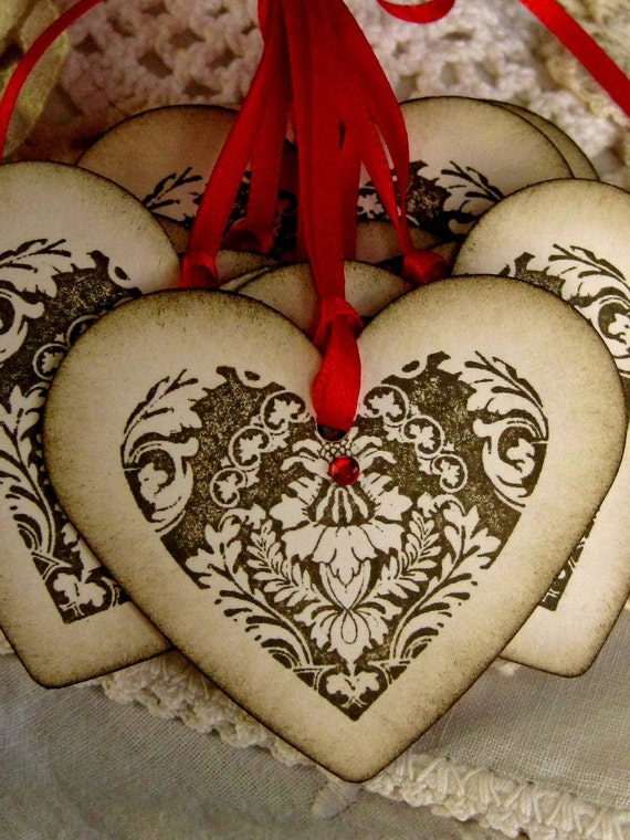 Heart Hang Tags with Red Ribbon set of Twelve
